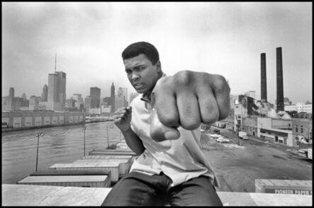 Thomas Hoepker, 'Muhammad Ali showing off his left fist over Chicago's skyline', 1966