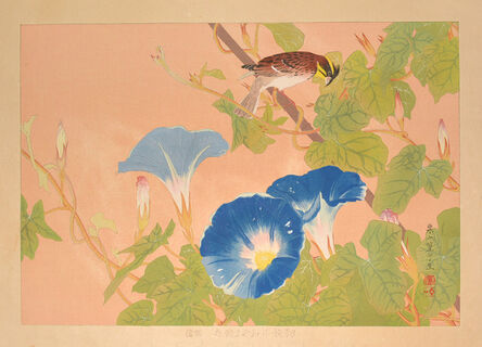 Tsuchiya Rakusan, 'Morning Glory and Yellow-throated Bunting (Mid Summer)', 1935