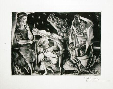 Pablo Picasso, 'Minotaure aveugle guidé par Marie-Thérèse au Pigeon dans une nuit étoilée from La Suite Vollard', 1934