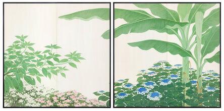 Suzuki Taima, 'Screen with Banana Tree and Hydrangea (T-4101)', ca. 1930