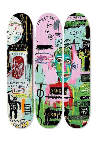 Jean-Michel Basquiat, 'Basquiat Skateboard Triptych (Basquiat In Italian)', 2014