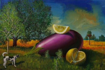 Bill Mead, 'Black & White Dog with Eggplant and Fruit', 2014