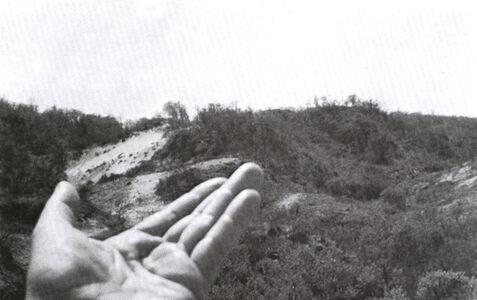 VALIE EXPORT, 'Konfigurationsstudie, Hand mit 2 Dünendreiecken', 1973