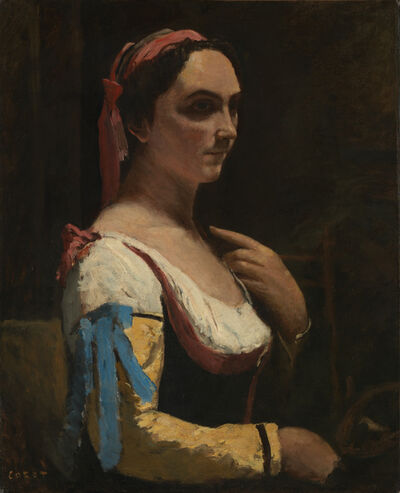 Jean-Baptiste-Camille Corot, 'L'Italienne ou La Femme a la Manche Jaune (The Italian Woman, or the Woman with Yellow Sleeve)', about 1870