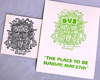 Keith Haring, 'Keith Haring club DV8 (set of 2 announcements)', ca. 1987