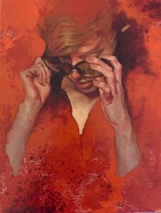 "Joseph Lorusso, '""Making Adjustments"" oil painting of a woman in sunglasses on orange background', 2010-2019"