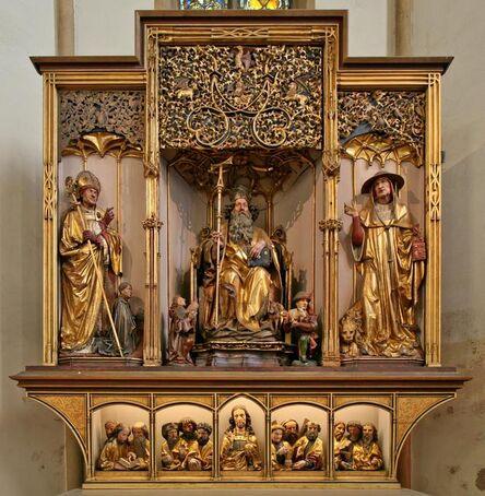 Nikolaus Hagenauer, 'Saint Anthony Enthroned between Saints Augustine and Jerome, Shrine of the Isenheim Altarpiece', ca. 1500