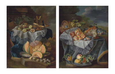 Maximilian Pfeiler, 'Figs, a gilded tazza with a façon-de-venise wine glass, on a draped table, a cut melon on a pewter platter with plums on a plinth; and grapes, pears and an apple on a glass vessel, pomegranates and a woven basket with fruit on a draped table, a plinth in a park landscape beyond'