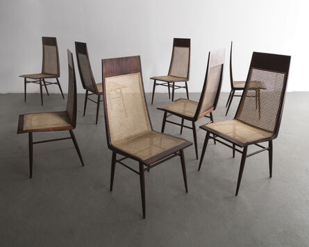 Joaquim Tenreiro, 'Set of eight (8) dining chairs in rosewood with cane seat and back', ca. 1949