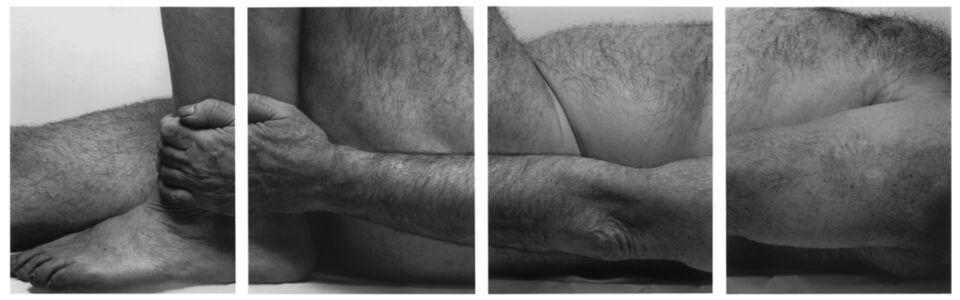 John Coplans, 'Lying Figure, Holding Leg, Four panels ', 1990