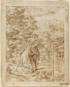 Johan Wierix, 'Mary Magdalene Praying in the Wilderness'