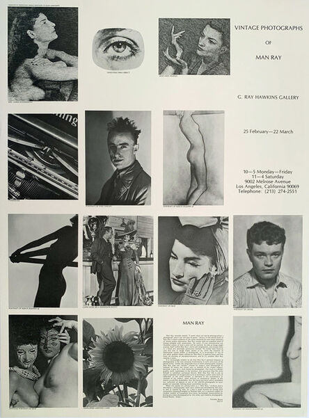 Man Ray, 'Vintage Photographs of Man Ray, G. Ray Hawkins Gallery Poster, Gallery Poster', 1975