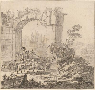 Cornelis Ploos van Amstel and Cornelis Brouwer after Simon van der Does, 'Flock of Goats', 1781