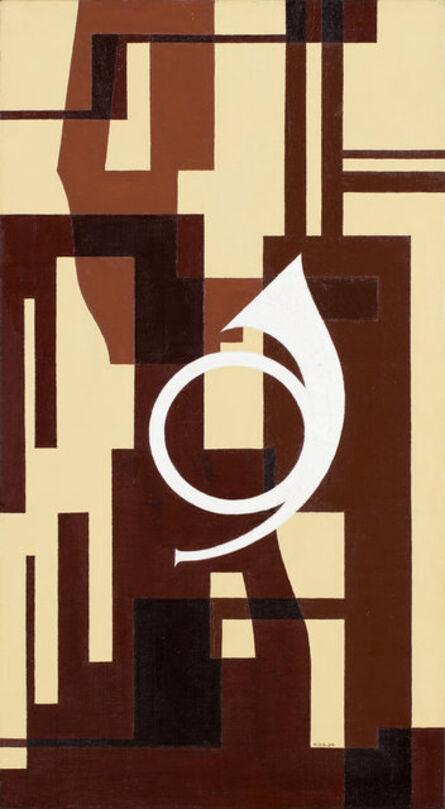 Otto Gustaf Carlsund, 'Fuga i brunt – Projekt till väggmålning för musikrum (Fugue in brown - Project to mural for musicroom)', 1934
