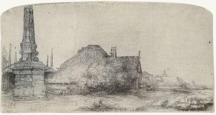 Rembrandt van Rijn, 'COTTAGE AND OBELISK ON THE SPAARNDAMMERDIJK', ca. 1650