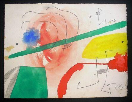 Joan Miró, 'Personnage et oiseaux dans un paysage'