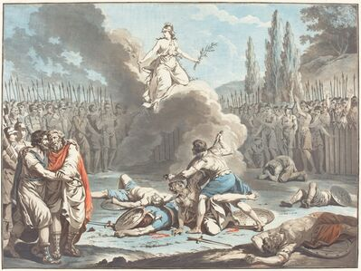 Jean-François Janinet after Jean-Jacques-François Le Barbier I, 'The Combat of the Horatii and the Curatii', 1783