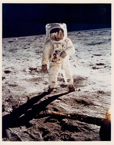 Neil Armstrong, 'Neil Armstrong, Buzz Aldrin's gold-plated visor reflects Armstrong and the Lunar Module Apollo 11, July 1969'