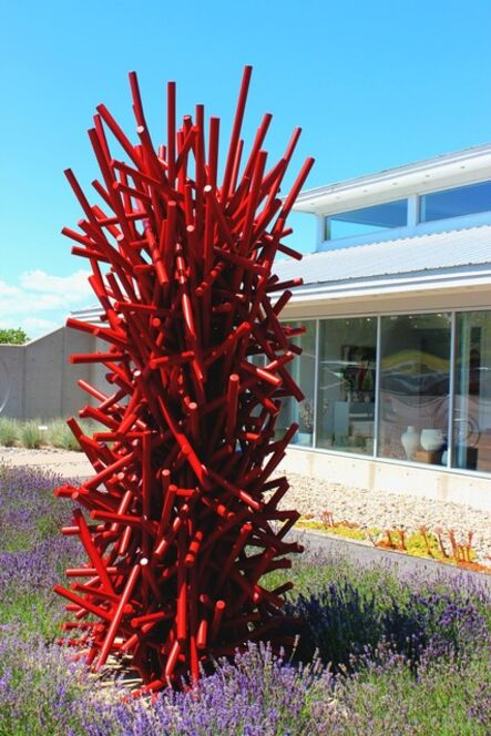 Shayne Dark, 'Tangled Column Red - Tall, bright, geometric abstract, coated steel sculpture', 2020