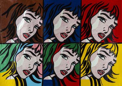 Steve Kaufman, 'Steve Kaufman Homage to Lichtenstein 6 Crying Girl  Unique Original Oil Painting over Screenprint Canvas Signed Contemporary Art ', 1980-2010