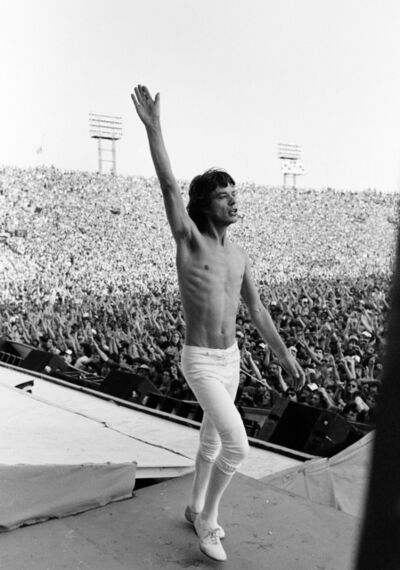 """Michael Putland, 'Mick Jagger on Stage, Philadelphia, US Tour, USA, """"You all right at the back?""""', 1981"""