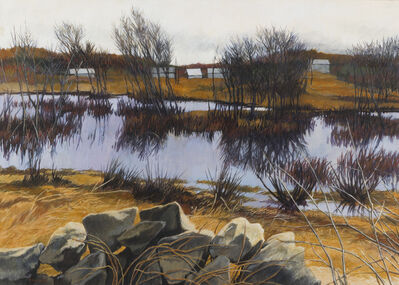 Anne Lyman Powers, '[Autumn Stream with Barnes in the Distance]'