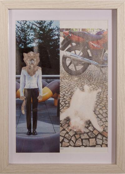 Saya Irie, 'Neko wo kaburu (wearing cat)', 2017