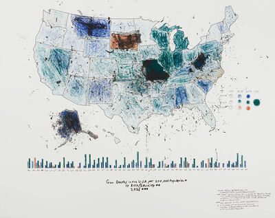 R. Luke DuBois, 'State of the Union: Gun Deaths in the U.S.A per 100,000 Population by Race/Ethnicity 2016', 2019