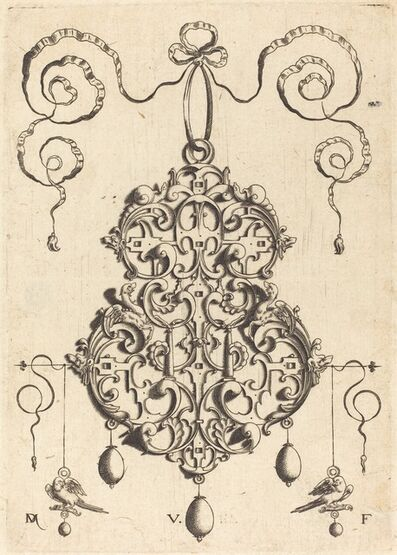 Daniel Mignot, 'Strapwork Pendant with Two Birds as Earrings at Left and Right'