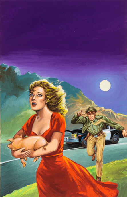 'Untitled (Woman hold pig, cop in pursuit)', c. 1960-75