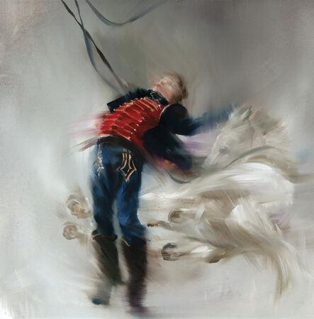 Sarah McRae Morton, 'Bara's Winged White Horses after La Mort de Bara by J.J. Weerts 1883'