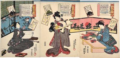 Utagawa Toyokuni III (Utagawa Kunisada), 'A Pictorial Commentary on One Hundred Poems by One Hundred Poets: no. 32, Ki no Tomonori, no. 33, Fujiwara no Okikaze, and no. 34, Ki no Tsurayuki', ca. 1844