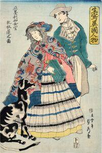 Utagawa Sadahide, 'Life Drawings of People of Foreign Nations: American Woman Playing a Concertina', 1860