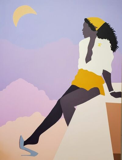 Abi Salami, 'On the Edge of a Beautiful Night- Surrealist Painting of Young Black Woman / Figure', 2020