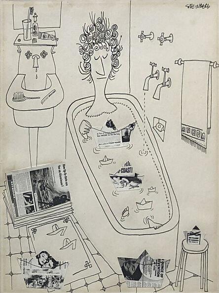 Saul Steinberg, 'Untitled (Woman, Bathtub)', ca. 1946-49