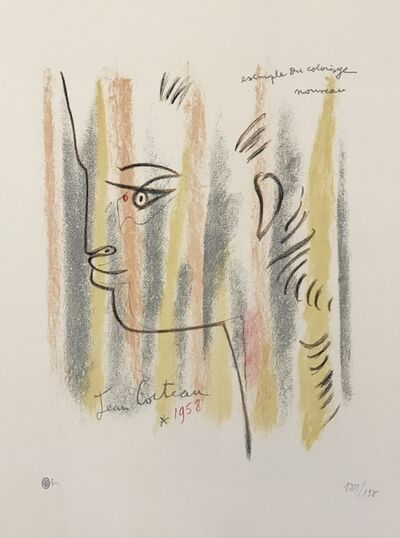 Jean Cocteau, 'Profile in Yellow, Pink, and Green', ca. 1960