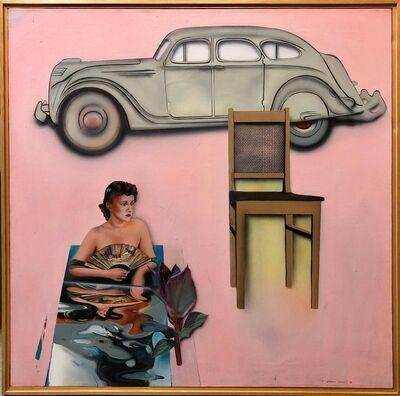 Joshua Griffit, 'Israeli Pop Art Large Vintage Antique Auto Pink Oil Painting Americana', 1980-1989