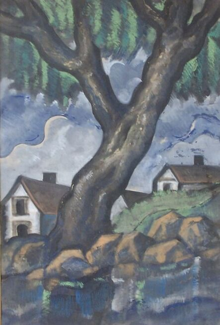 Hugó Scheiber, 'Landscape with Tree and Houses', ca. 1930's
