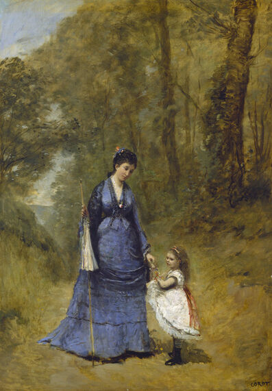 Jean-Baptiste-Camille Corot, 'Madame Stumpf and Her Daughter', 1872