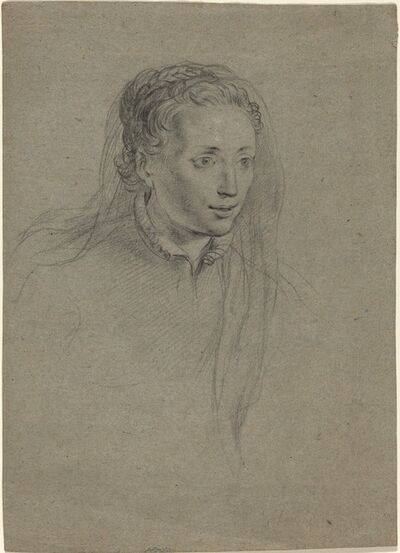 Ottavio Leoni, 'Young Woman with Braided Hair and a Veil', ca. 1610