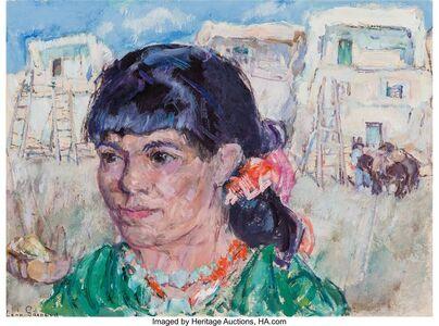 Leon Gaspard, 'Woman at Taos Pueblo'
