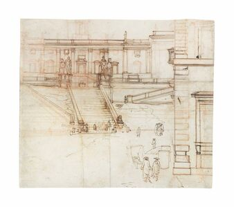 Circle of Gaspar van Wittel, called Vanvitelli, 'View of the steps up to the Campidoglio, Rome, with subsidiary figure sketches in the foreground'