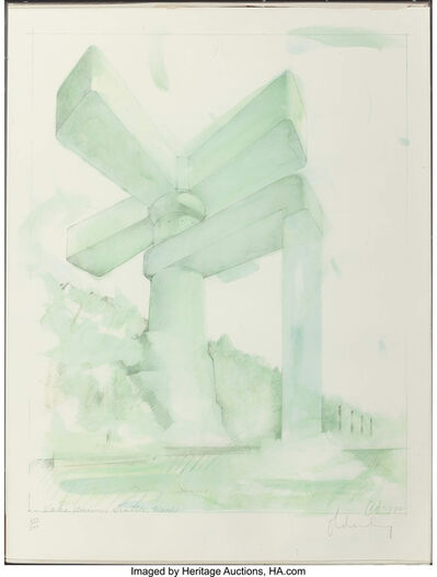 Claes Oldenburg, 'Proposal for a Cathedral in the Form of a Sink Faucet for Lake Union, Seattle, Washington', 1972