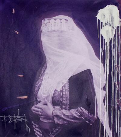Firouz Farmanfarmaian, 'A Woman with a Veil in Purple (Panel III)', 2017
