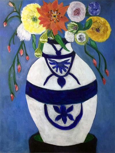 Kathleen Sidwell, 'White Vase, Blue Design', 2019