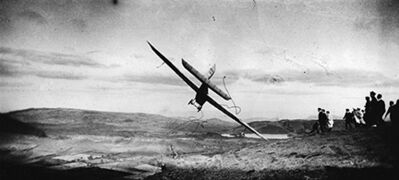 """Jacques-Henri Lartigue, 'Gliding Competition: Pilot in the """"Levasseur-Abrial Monoplane,"""" Combegrasse', 1922"""