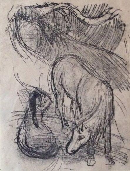 Paul Gauguin, 'Studies of a Horse and Kneeling Woman', 1901-1902