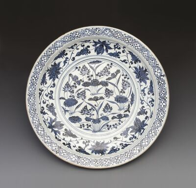 'Large plate with design of lotus pond in underglaze blue', Late Yuan dynasty