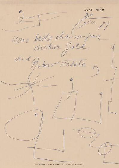 Joan Miró, 'Two letters with drawings'