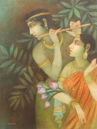 Bratin Khan, 'Krishna & Radha, Hindu God, Mythology, Tempera on Canvas by Indian Artist Bratin Khan', 2006